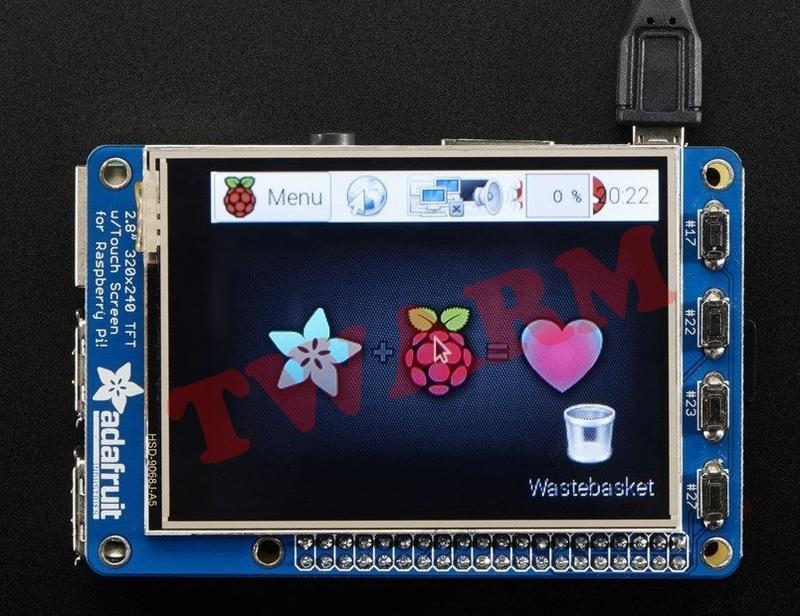 《德源科技》PiTFT Plus Assembled 320x240 2.8吋 TFT + 電阻式觸摸屏(ada2298