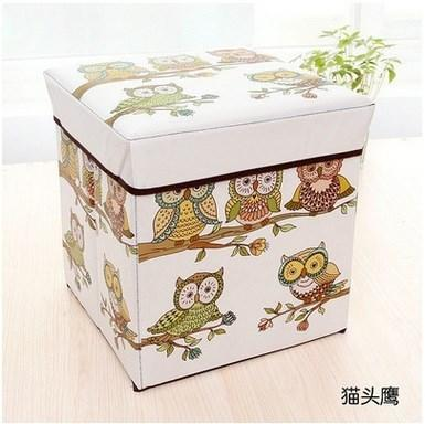 【愛團購 iTogo】折疊收納椅(貓頭鷹)|換鞋凳|方形儲物凳|收納箱椅