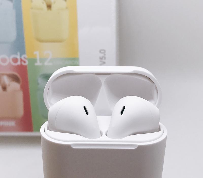 全新 熱門 馬卡龍 i12 磁吸式觸碰藍芽無線耳機 iphone接頭 具充電艙 藍芽v5.0 白色粉色現貨