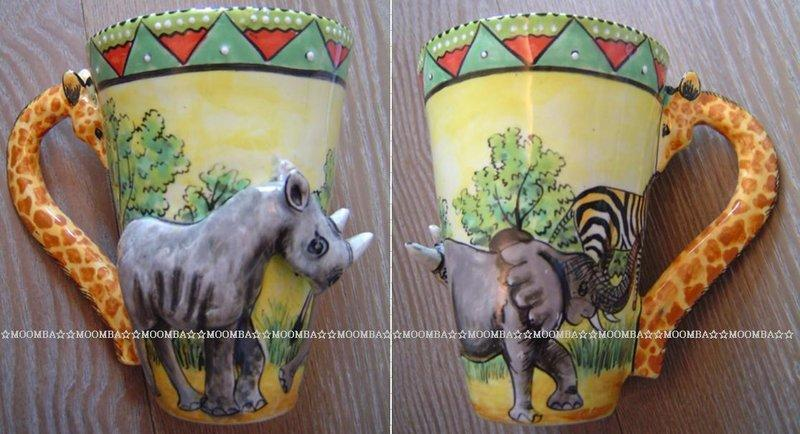 ☆MOOMBA☆ South Africa 南非 手工製 動物 長頸鹿手把 彩繪 陶杯 - 犀牛 INTU-ART COFFEE MUGS GIRAFFE HANDLE #522