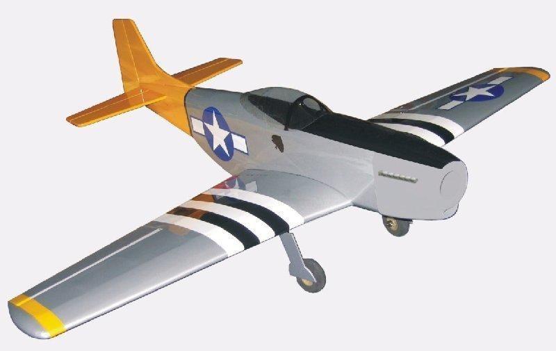 【秋海棠】P-51野馬--全新空機(附五金),巴爾沙木,油電兩用,翼展 1 0 0 0 m m ,P51二戰像真戰鬥機