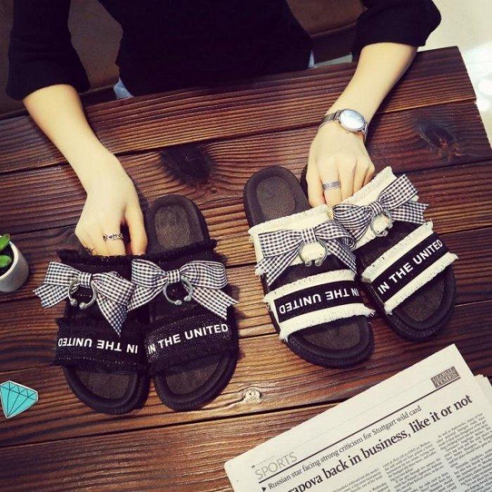 夏季新款平底中跟平跟厚底鬆糕跟韓版涼鞋女蝴蝶結軟底女鞋子