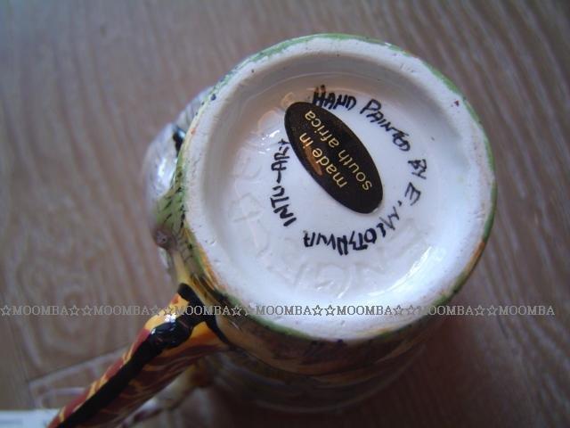 ☆MOOMBA☆ South Africa 南非 手工製 動物 長頸鹿手把 彩繪 陶杯 - 犀牛 INTU-ART COFFEE MUGS GIRAFFE HANDLE #537