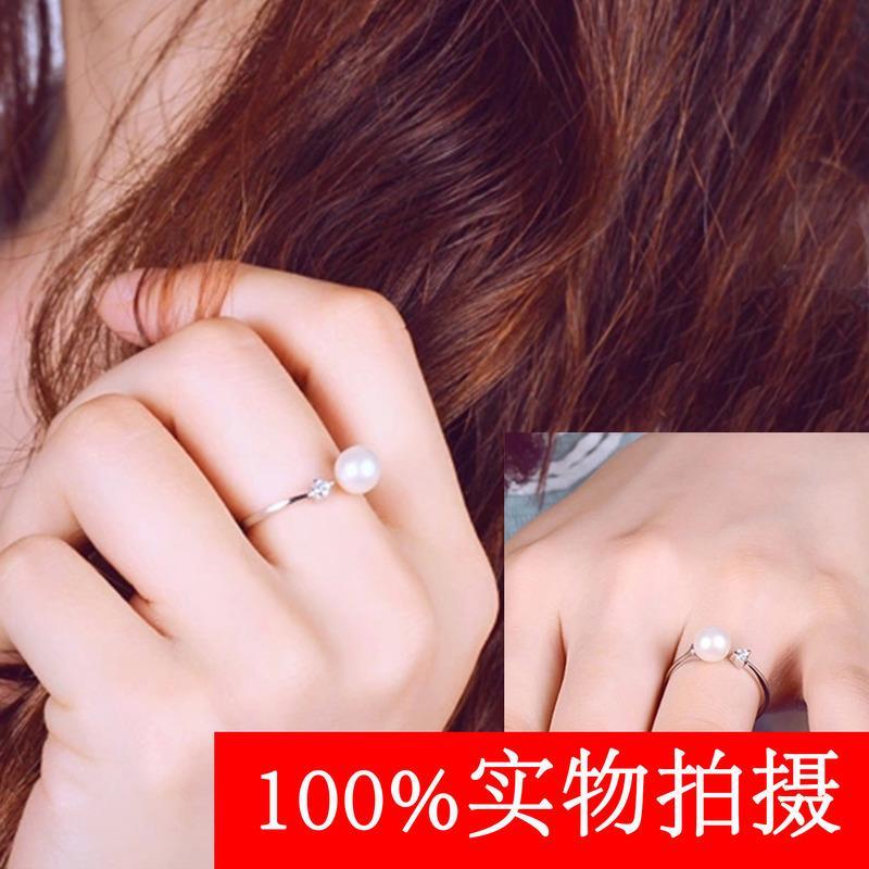 正圓強光天然淡水珍珠戒指女 925純銀時尚簡約開口戒