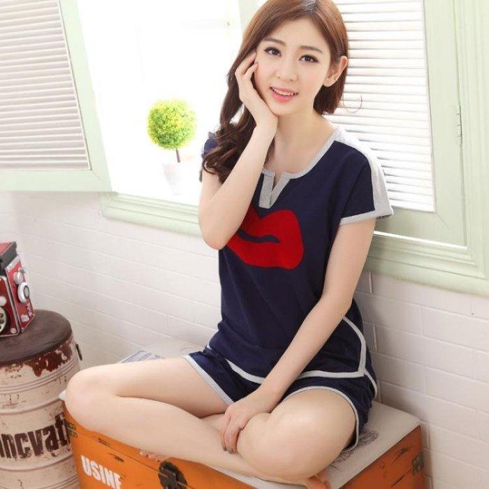 短袖睡衣女夏天可愛韓版寬鬆夏季家居服短褲兩件套裝