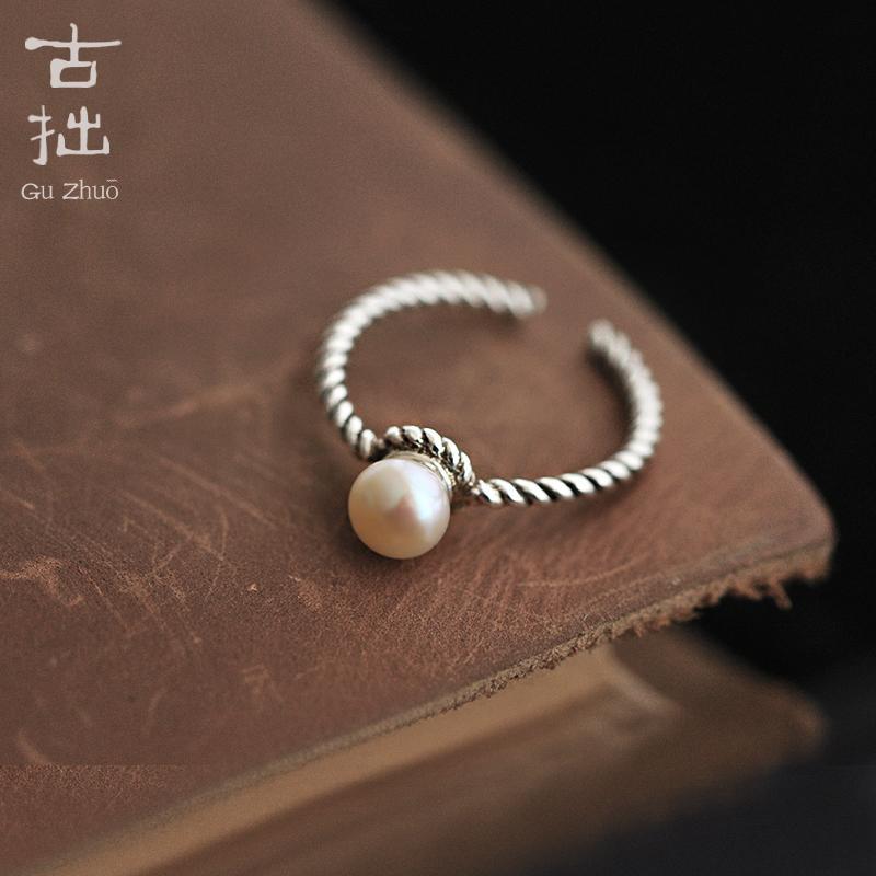 古拙原創925純銀 淡水珍珠戒指 泰國手工開口文藝單戒生日禮物女