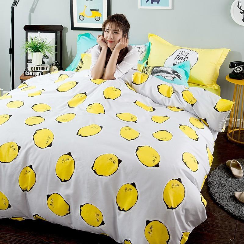 簡約春夏韓版卡通床上用品全棉斜紋四件套床品套件1.5米床單款