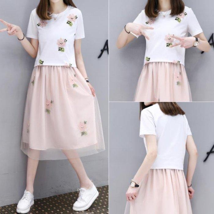 夏季套裝裙女2018新款女裝韓版時尚T恤網紗裙兩件套學生洋裝 潮