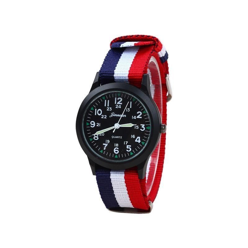 【熱賣】現貨  小男孩休閑防水帆布手表中學生兒童表小學生數字腕表男女潮流腕表
