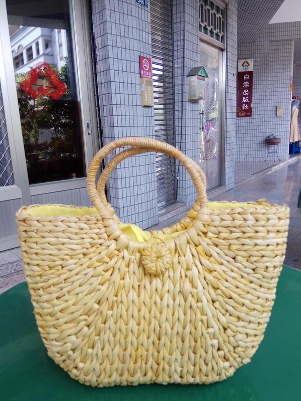 【義賣品】草編包 編織包 手工包 手拎手提包 天然玉米皮文藝