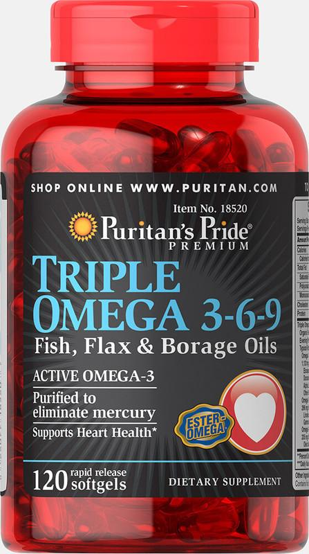 大盤大 Triple OMEGA 3-6-9 魚油+亞麻子油+琉璃苣 120顆 三瓶免運 Puritan's 18520