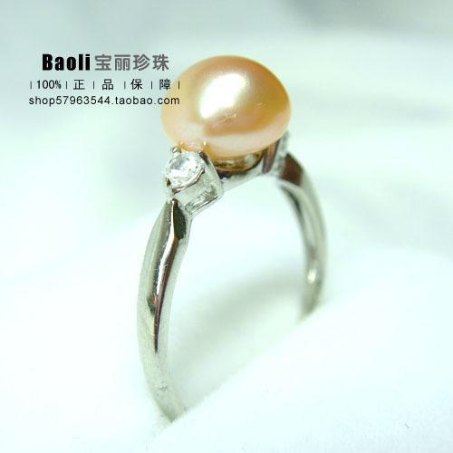 【寶麗珍珠】 韓版 天然淡水珍珠戒指 可調節珍珠戒指 925銀 正品
