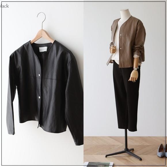 韓國妹 【cb44293】 ❤(韓國連線 ) 秋天穿這件++ 別緻輕柔皮外套 ❤ 2色
