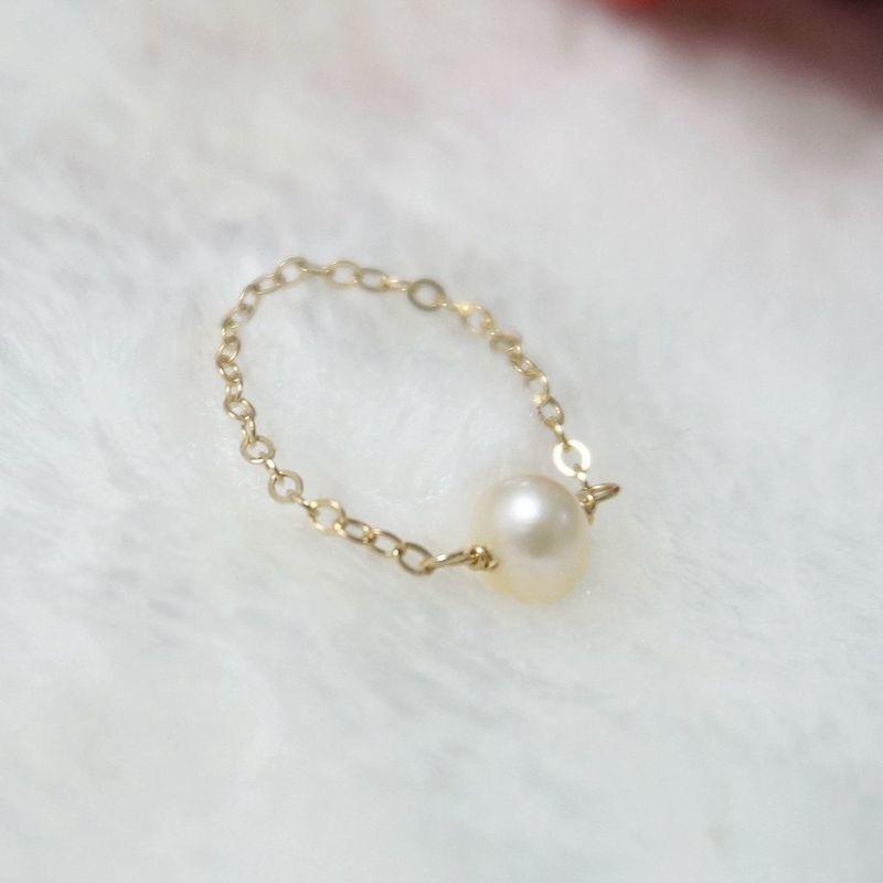手工定制 美國直郵14包金 鏈條天然淡水珍珠 戒指 不褪色