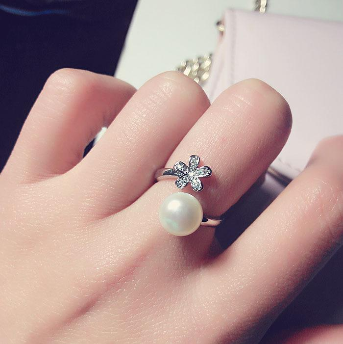 天然淡水珍珠微鑲鑽925純銀開口女士戒指 簡約時尚