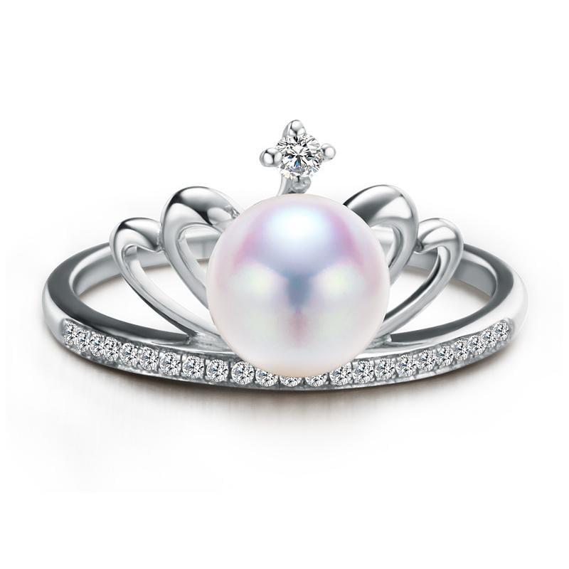黛夢莉珍珠 天然淡水珍珠戒指 耳釘 皇冠造型 氣質女神款