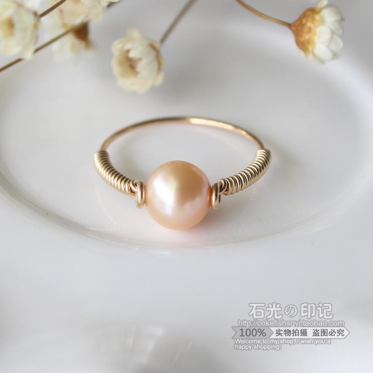 稀有金色天然淡水珍珠戒指14包金指環不褪色防過敏正圓強光