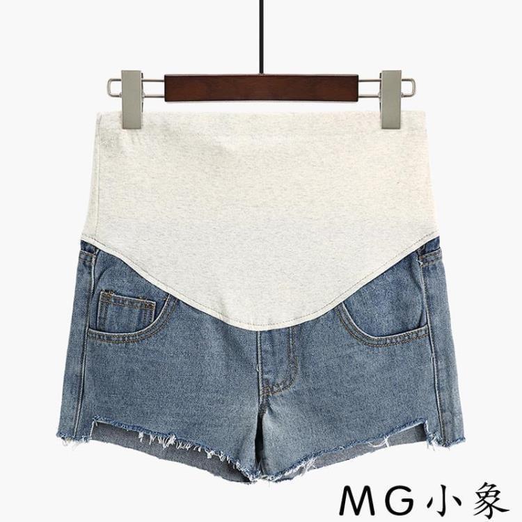 【可開發票】孕婦裝-孕婦短褲時尚寬鬆外穿牛仔短褲—聚優購物網
