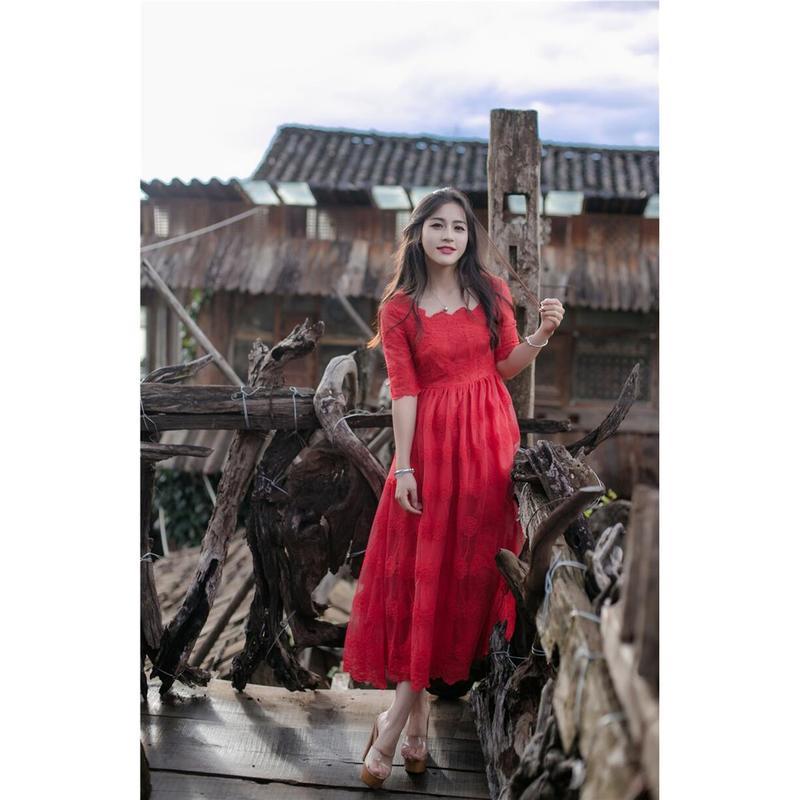 紅裙子2017春夏女裝中長款刺繡禮服修身鏤空網紗蕾絲大紅色連衣裙