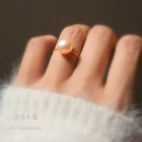 *少女輕熟女過渡期* 強光天然淡水珍珠 進口纖細麻花鍍金戒指
