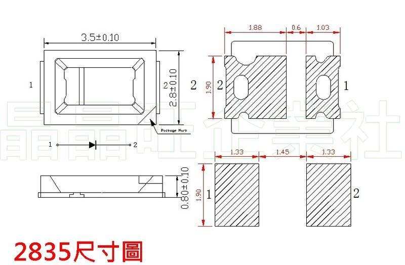 晶晶旺企業社-2835型0.5W暖白光LED-1捲3000顆-批發整捲賣-便宜