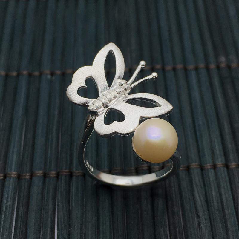 純銀飾品鑲嵌天然淡水珍珠蝴蝶開口戒指韓版925銀食指環春夏新品