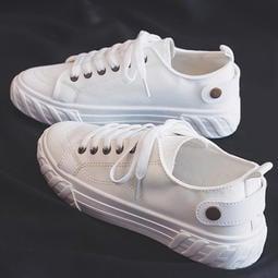 【現貨 附發票】時尚簡約休閒帆布鞋 運動鞋 女鞋 小白鞋 休閒鞋 編號6686 讚美