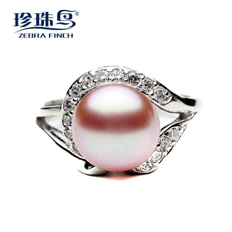 珍珠鳥珠寶 韓版淡水珍珠戒指珍珠8-9強光無瑕款正品送媽媽