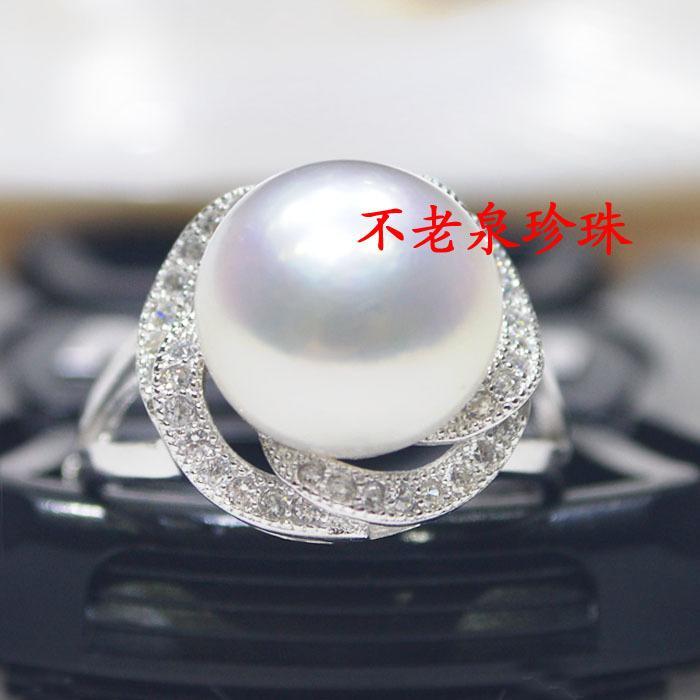 11超大天然珍珠戒指鑲鑽925純銀開活口 淡水強光無瑕白粉紫色女