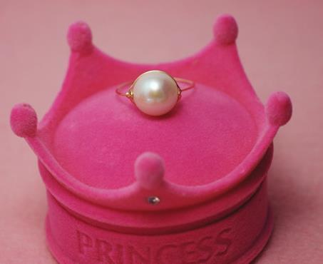 亮麗珍珠 9.5一10天然淡水珍珠戒指925銀 可調節