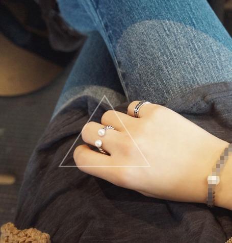 韓國925純銀天然淡水珍珠開口戒素銀復古麻花戒指指環閨蜜禮物