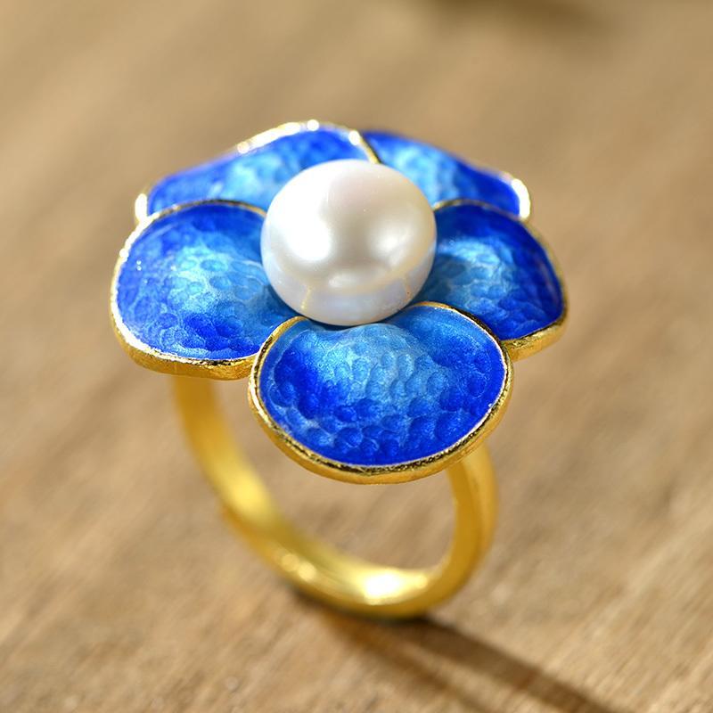 非常泰925銀 新款甜美時尚花朵淡水珍珠女款戒指 歐美潮流