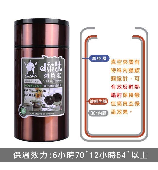 【15天不滿意包退】 AWANA 魔法悶燒壺 750ml 銀色 保溫 飯盒 真空 (平輸原廠盒裝)