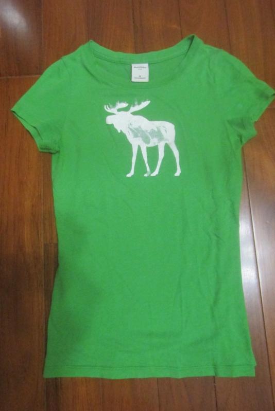 二手 Abercrombie & Fitch 女童/小號大人也可穿 XL 麋鹿圖案 短袖T恤