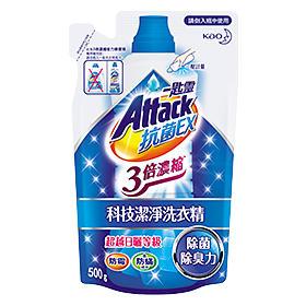 一匙靈 Attack抗菌EX3倍濃縮科技潔淨洗衣精補充包500g