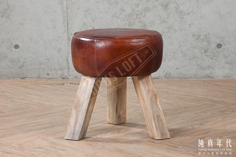 [純真年代工業風家居] 1140 復古工業風  圓木三角凳 房間凳子 個性化矮凳
