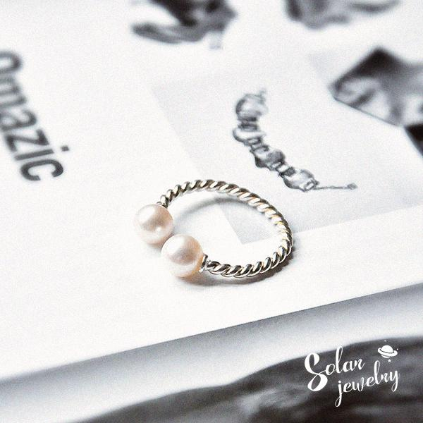 || 獨家定制!925純銀麻花開口戒指 天然淡水珍珠 強光無暇