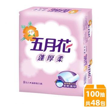【PChome 24h購物】 五月花蓬厚柔頂級抽取式衛生紙100抽*8包*6袋_2015升級版 DAAG0U-A9006JEF1