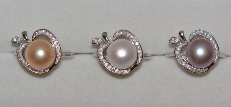 天然淡水珍珠戒指 強光珠 白/粉/紫 大珍珠 可選 925純銀戒指