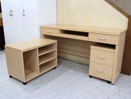 【歐風別館】優美白橡五尺電腦桌三件組【基隆至台中免運費】