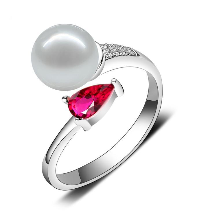 珍珠戒指 天然淡水珍珠戒指可調節7-8正圓形強光無暇正品送女友