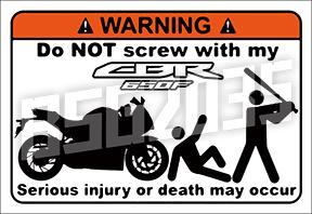CBR 650F、CB 650F 警告貼紙 防水材質 (Honda、本田、CBR650F、CB650F)