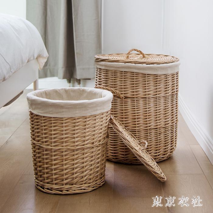洗衣籃 柳藤編織大號存儲衣物筐收納筐帶蓋臟衣簍玩具籃洗衣筐 QQ4631『東京衣社』