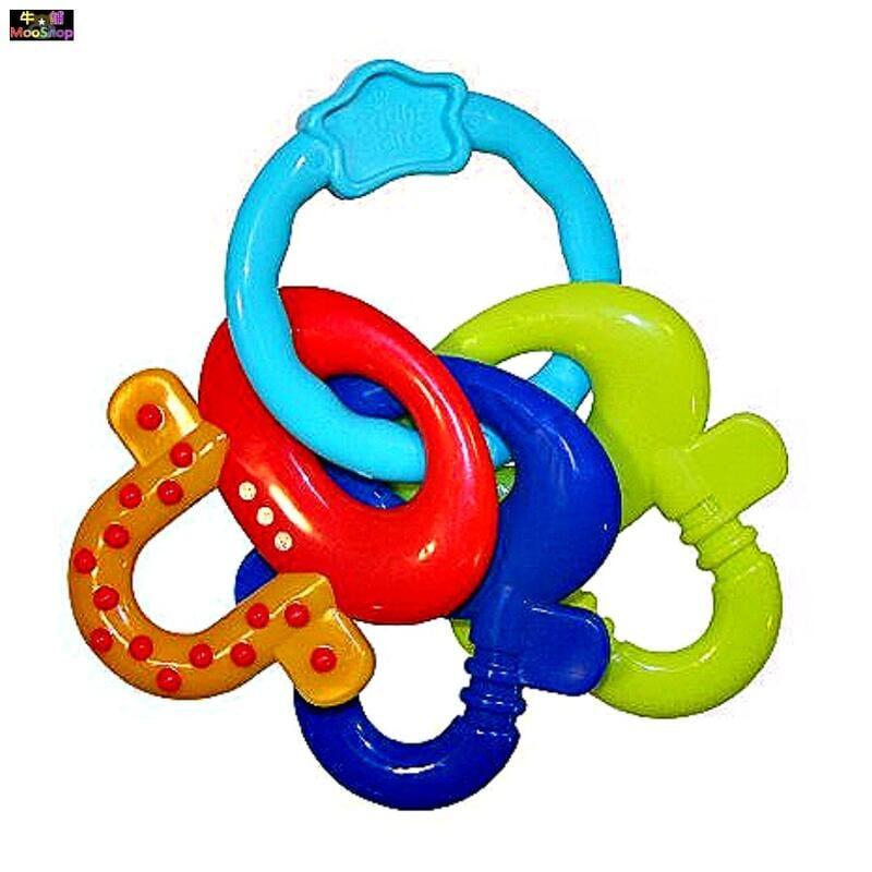 鑰匙造型固齒器 牙膠咬咬樂 鑰匙造型磨牙器 環狀咬舔牙咬手搖鑰匙圈玩具 美國Bright Starts嬰幼兒玩具【牛舖】