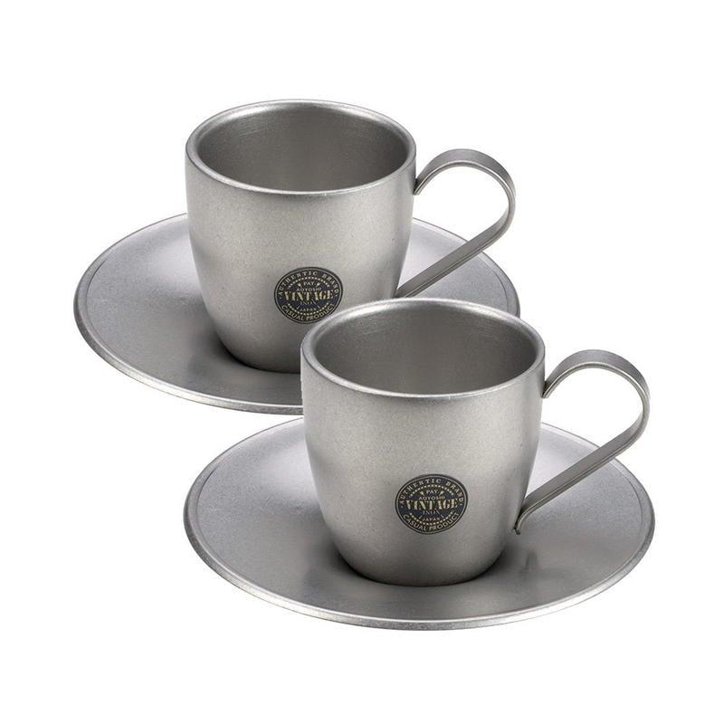 【Aoyoshi青芳製作所】VINTAGE不銹鋼咖啡杯雙人組100ml不鏽鋼咖啡杯組 咖啡杯咖啡盤兩件組 咖啡杯盤日本製