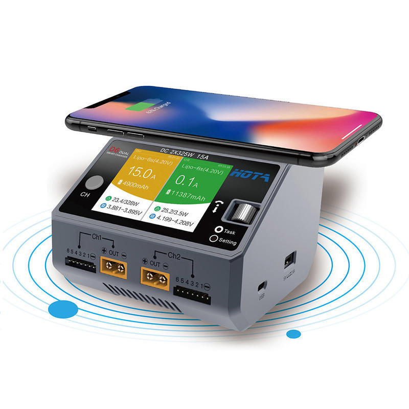 """RC小棧"" 送2組分壓板 HOTA D6 650W 雙充電器, 繁體中文介面, 配備手機無線充電功能, 靜謐黑色"