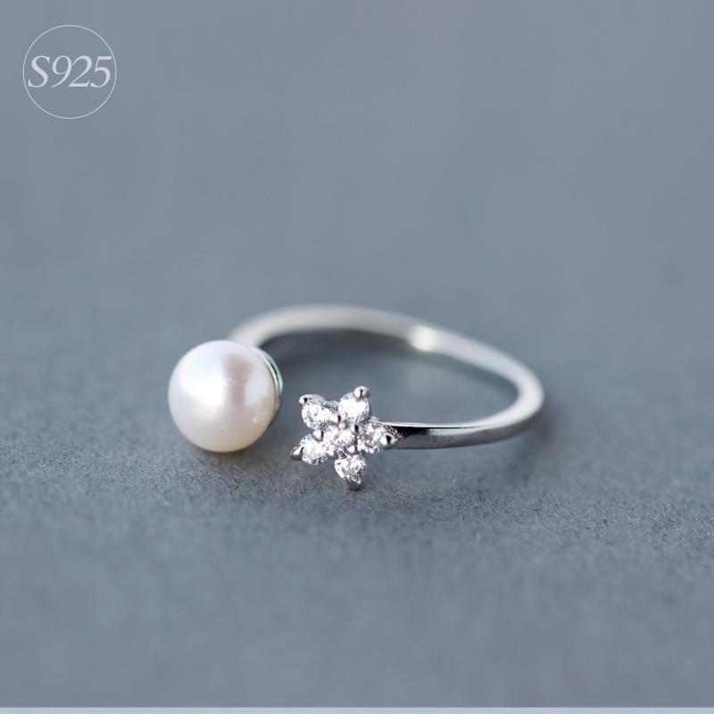愛洛奇 925銀戒指女森繫文藝鑲鑽花朵戒指指環天然淡水珍珠食指戒