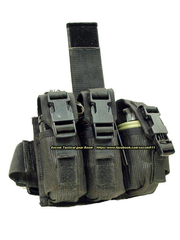 EAGLE 腿掛 三連裝 震撼彈 煙霧彈 袋 黑色 (FSBE M18 M116 MK141 ABA)