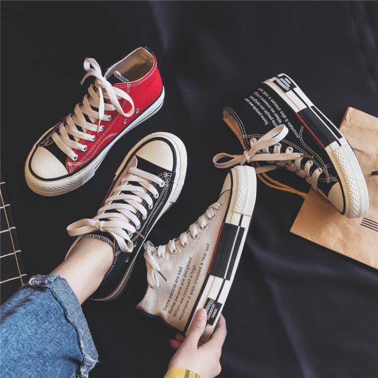 999小舖高筒鞋 春季新款學生高筒帆布鞋女韓版ulzzang百搭超火