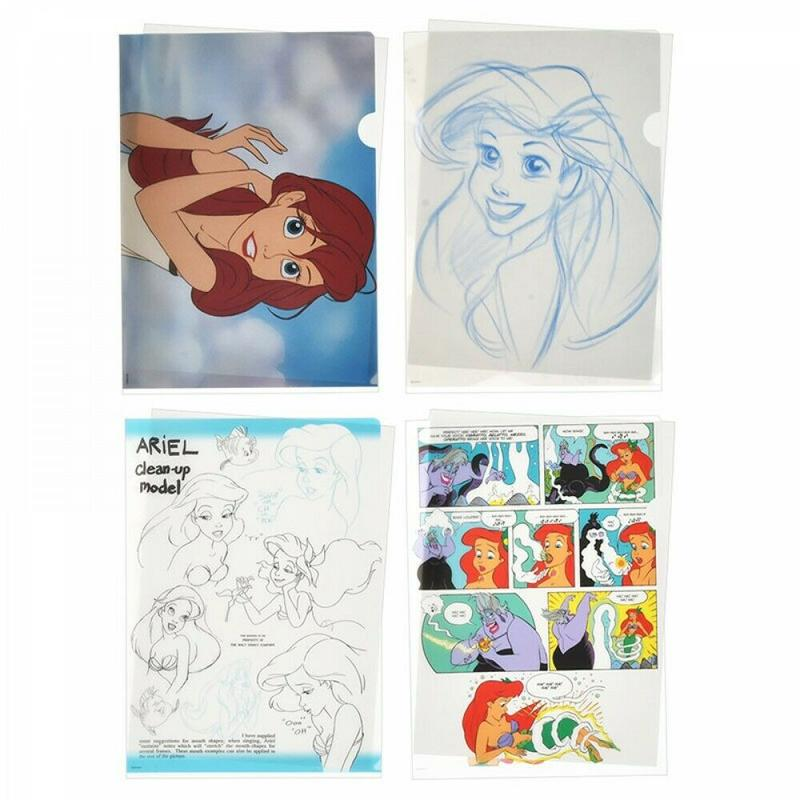 【噗嘟小舖】現貨 日本正版 日本製 小美人魚 小比目魚 資料夾 (一組4入) 迪士尼 A4 文件夾 L型 Ariel